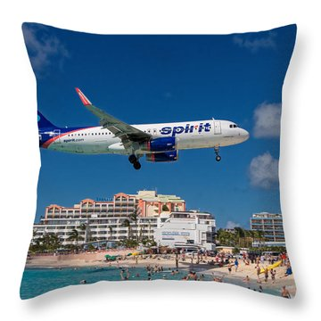 Spirit Airlines Low Approach To St. Maarten Throw Pillow