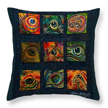 Throw Pillow featuring the painting Spirit Eye Collection I by Deborha Kerr