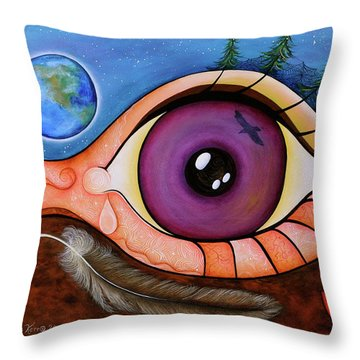 Throw Pillow featuring the painting Spirit Eye by Deborha Kerr