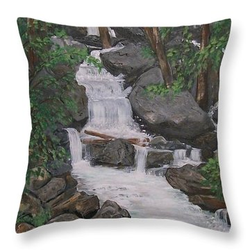 Throw Pillow featuring the painting Spirit Falls by Sharon Duguay