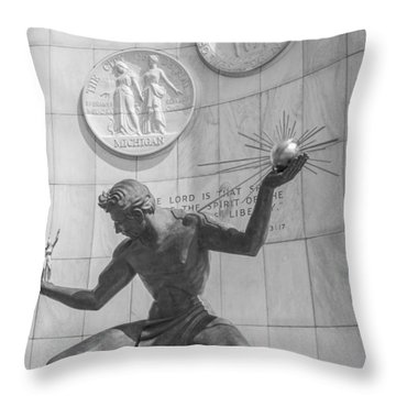 Spirit Of Detroit Black And White  Throw Pillow