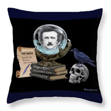 Spirit Of Edgar A. Poe Throw Pillow by Glenn Holbrook