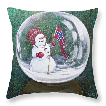 Throw Pillow featuring the painting Spirit Of Norway by Susan Fisher