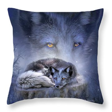 Spirit Of The Blue Fox Throw Pillow by Carol Cavalaris