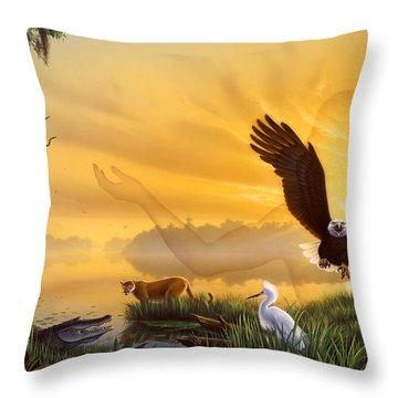 Spirit Of The Everglades Throw Pillow by Jerry LoFaro