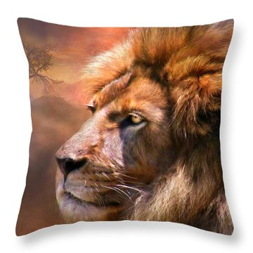 Spirit Of The Lion Throw Pillow by Carol Cavalaris