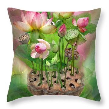 Spirit Of The Lotus Throw Pillow by Carol Cavalaris