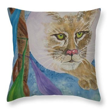 Throw Pillow featuring the painting Spirit Of The Mountain Lion by Ellen Levinson