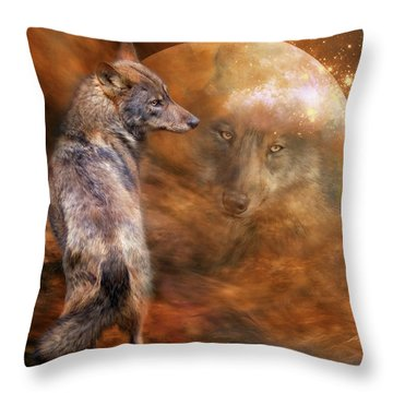 Spirit Of The Wolf Throw Pillow by Carol Cavalaris
