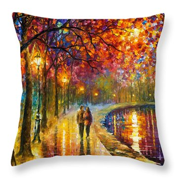 Spirits By The Lake - Palette Knife Oil Painting On Canvas By Leonid Afremov Throw Pillow