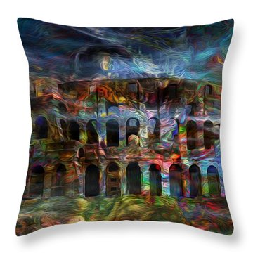 Spirits Of The Coliseum Throw Pillow by Jack Zulli