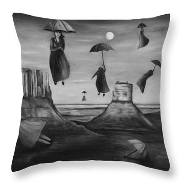 Spirits Of The Flying Umbrellas Bw Throw Pillow by Leah Saulnier The Painting Maniac