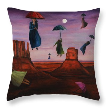Spirits Of The Flying Umbrellas Throw Pillow by Leah Saulnier The Painting Maniac