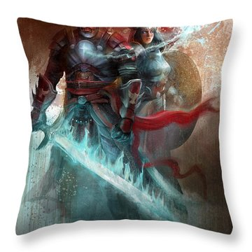 Throw Pillow featuring the digital art Spiritual Armor by Steve Goad