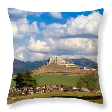 Throw Pillow featuring the photograph Spissky Hrad - Castle by Les Palenik