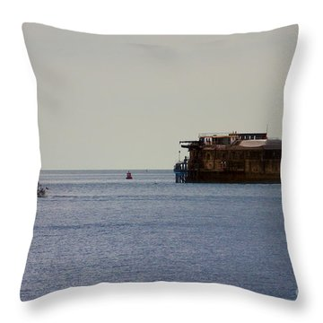 Spitbank Fort Martello Tower Throw Pillow by Terri Waters