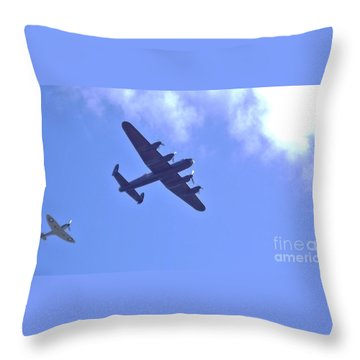 Throw Pillow featuring the photograph Spitfire  Lancaster Bomber by John Williams