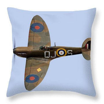 Spitfire Mk 1 R6596 Qj-s Throw Pillow by Gary Eason