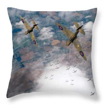Raf Spitfires Swoop On Heinkels In Battle Of Britain Throw Pillow