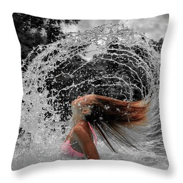 Hair Flip Splash Throw Pillow