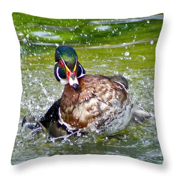 Splashdown - Wood Duck Throw Pillow