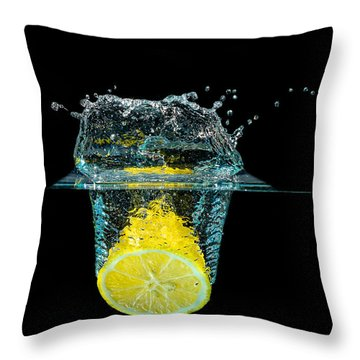 Splashing Lemon Throw Pillow