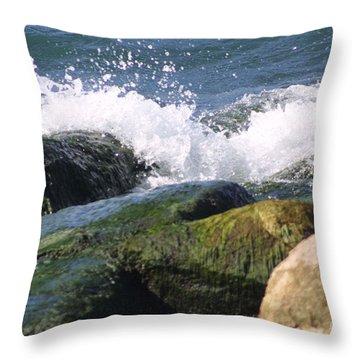 Splashing Rocks Throw Pillow