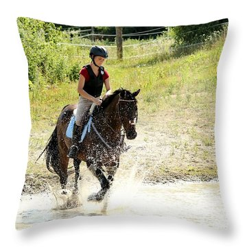 Splashing Thru Water Jump Throw Pillow