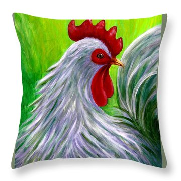 Splashy Rooster Throw Pillow