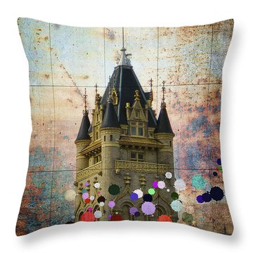 Splattered County Courthouse Throw Pillow by Daniel Hagerman