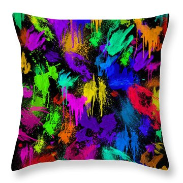 Splattered One Throw Pillow
