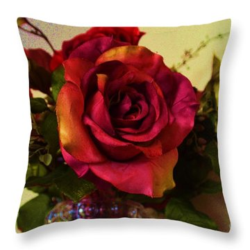 Splendid Painted Rose Throw Pillow by Luther Fine Art
