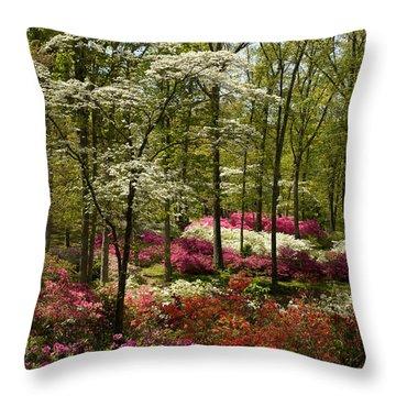 Splendor - Azalea Garden Throw Pillow by Jane Eleanor Nicholas
