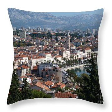 Throw Pillow featuring the photograph Split Panorama - Croatia by Phil Banks