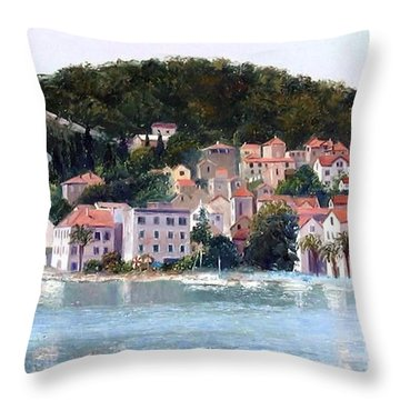Split Harbour Croatia Throw Pillow