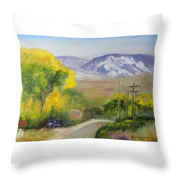 Split Mountain On Golf Course Road Throw Pillow by Sherril Porter