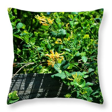 Split Rail Honeysuckle Throw Pillow