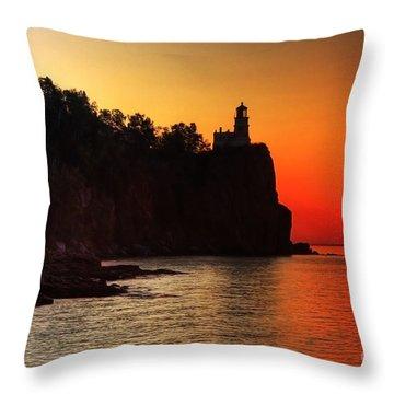 Split Rock Lighthouse - Sunrise Throw Pillow