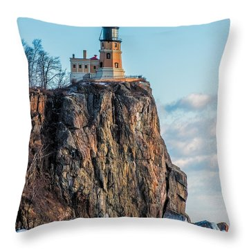 Split Rock Lighthouse In Winter Throw Pillow