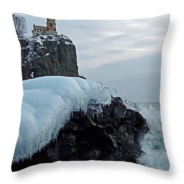 Split Rock Lighthouse Winter Throw Pillow by James Peterson