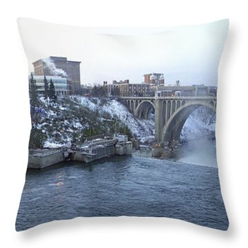 Spokane City Skyline On A Frigid Morning Throw Pillow by Daniel Hagerman