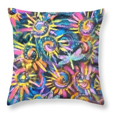 Spokes And Dragonflies Throw Pillow by Jean Fitzgerald