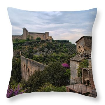 Spoleto And The Appian Way Throw Pillow by Hugh Smith