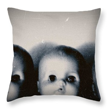 Spooky Doll Heads Throw Pillow