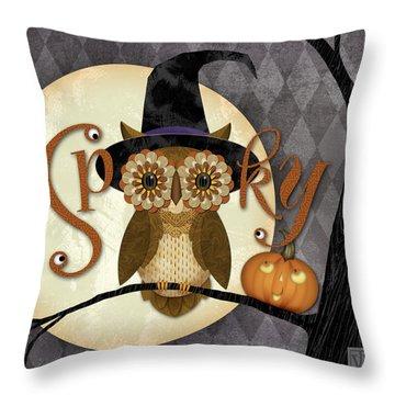 Spooky Owl Throw Pillow by Valerie Drake Lesiak