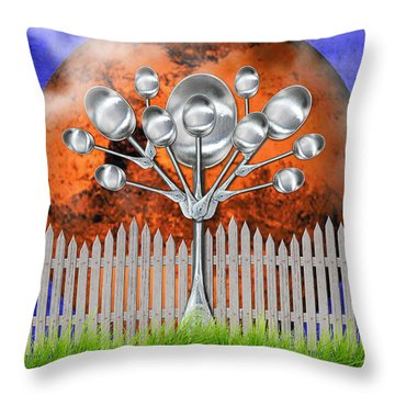 Throw Pillow featuring the mixed media Spoon Tree by Ally  White