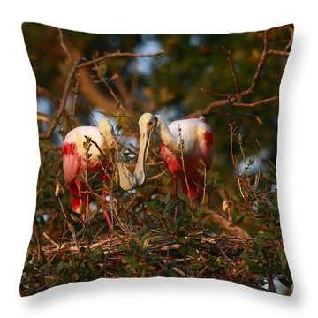 Throw Pillow featuring the photograph Spoonbill Love Nest by John F Tsumas