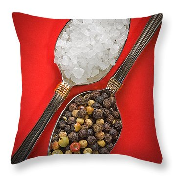 Spoonfuls Of Salt And Pepper Throw Pillow by Susan Candelario