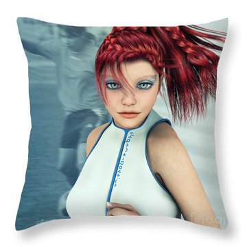 Sporty Girl Throw Pillow by Jutta Maria Pusl
