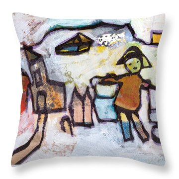 Throw Pillow featuring the mixed media Spotted Boots by Catherine Redmayne